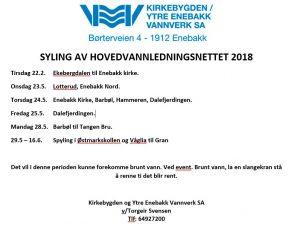 Spyling av hovedvannledningsnettet 2018