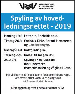 Spyling av hovedledningsnettet – 2019